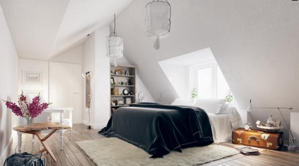 schlafzimmer einrichten dachschräge rustikaler tisch pflanzen