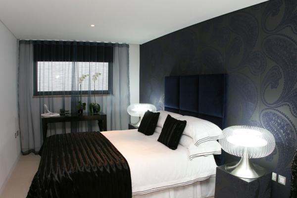 schlafzimmer einrichten schwarz weiß elegante wandtapete