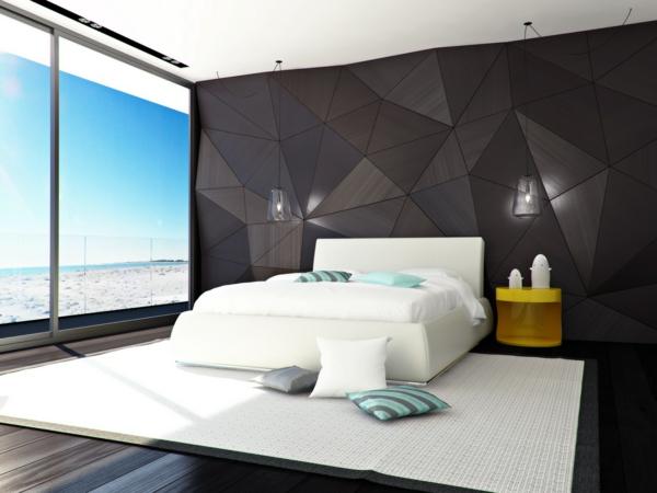 Entzuckend Schlafzimmer Neu Gestalten Geometrische Muster Wandverkleidung