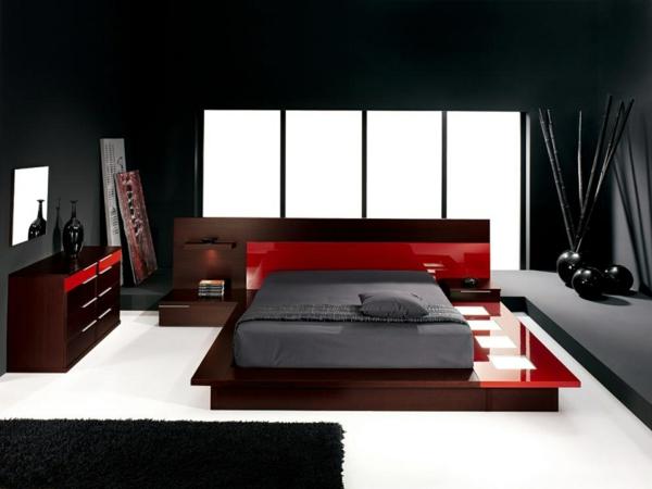 Schlafzimmer Neu Gestalten Hochglanz Rot Weißer Boden