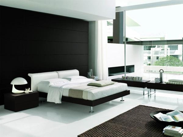 Schlafzimmer Neu Gestalten Rattanteppich Weiße Tischlampe Kopfteil