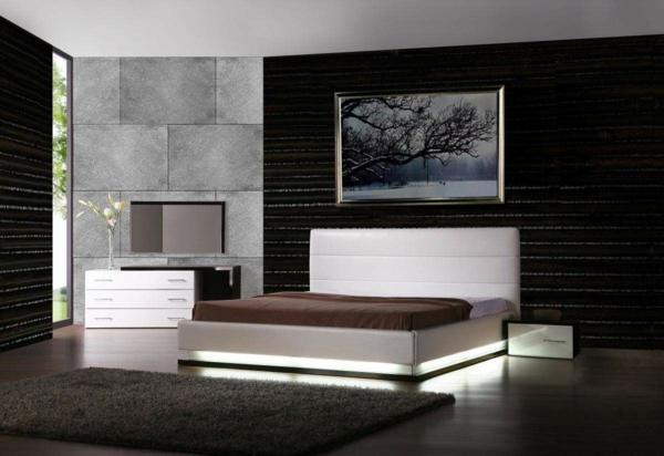 schlafzimmer neu gestalten schwarze wandpaneele graue wandfliesen