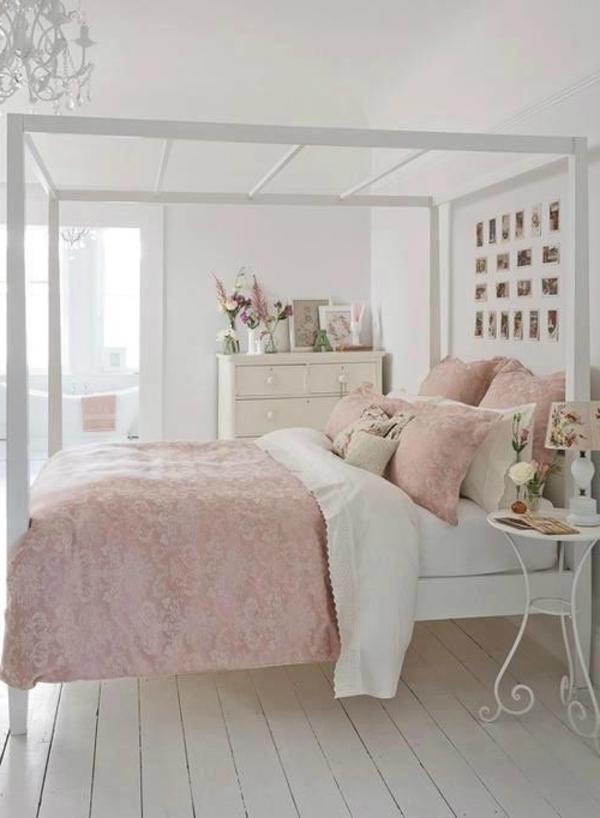 shabby chic schlafzimmer weiß hellrosa kombination