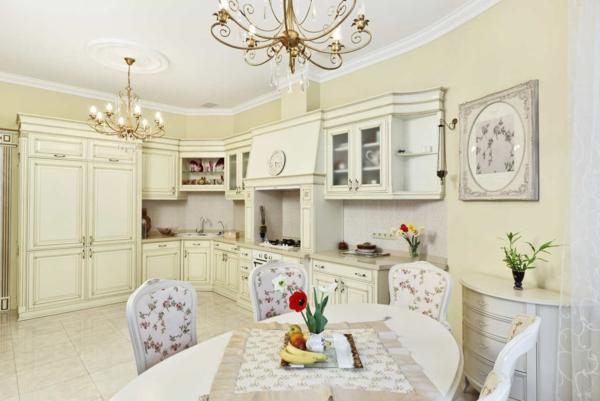 shabby chic stil küche küchenstühle design florale motive
