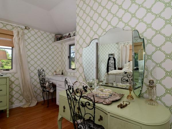 tapete landhausstil schlafzimmer einrichten grüne einrichtung