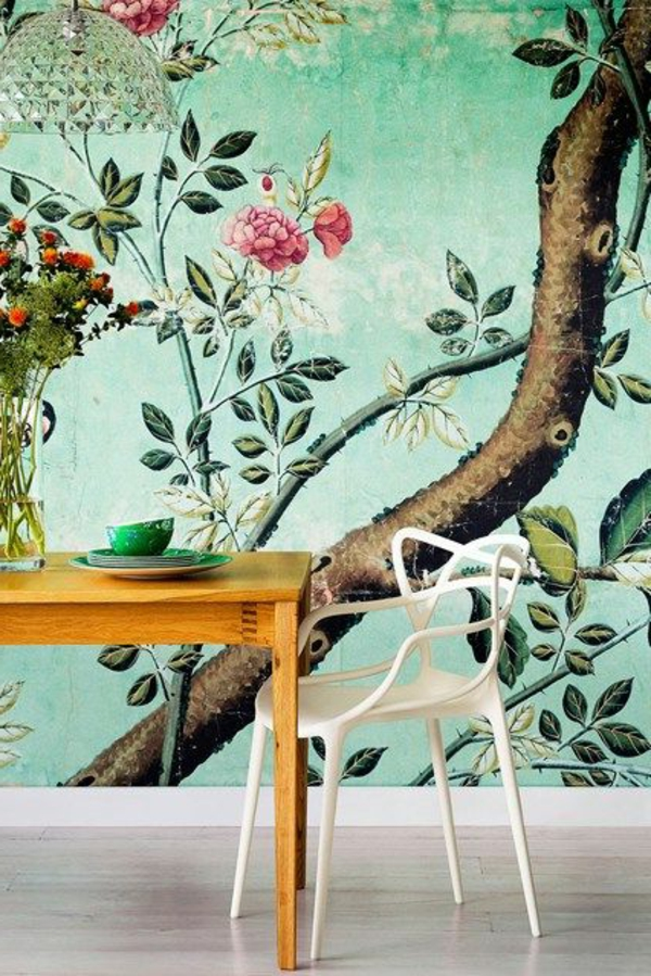 tapete mit muster florale elemente grün