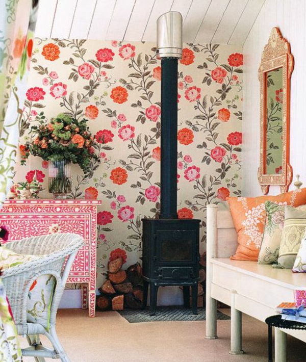 Tapeten Landhausstil Frische Wandgestaltung Blumen