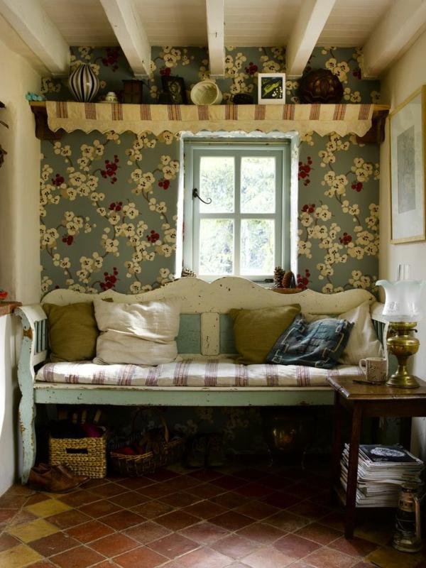 Schlafzimmer Tapeten Landhausstil : Tapeten Landhausstil ? Frische Ideen, wie Sie die W?nde verkleiden