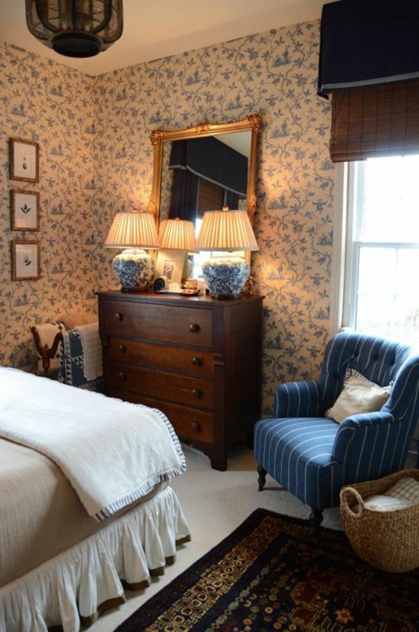 Tapeten Landhausstil Schlafzimmer : Tapeten Landhausstil ? Frische Ideen, wie Sie die W?nde verkleiden
