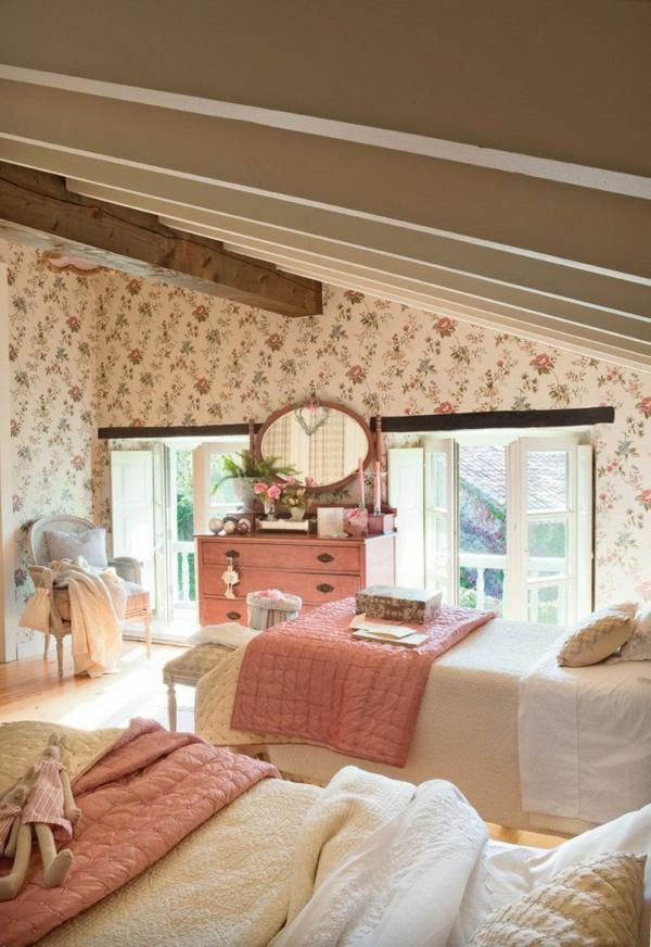 tapeten landhausstil frische ideen wie sie die w nde. Black Bedroom Furniture Sets. Home Design Ideas