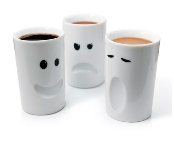 tasse kaffee bilder weiß design mit augen