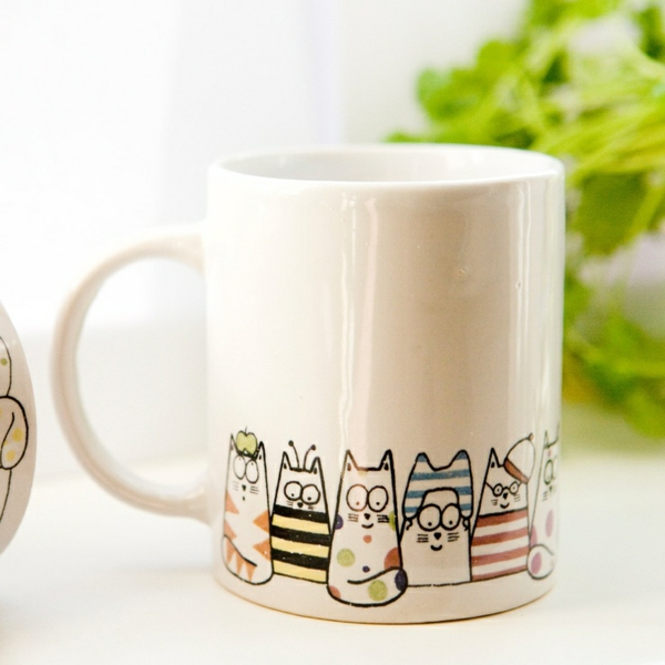 tasse kaffee bilder weiß katzen muster