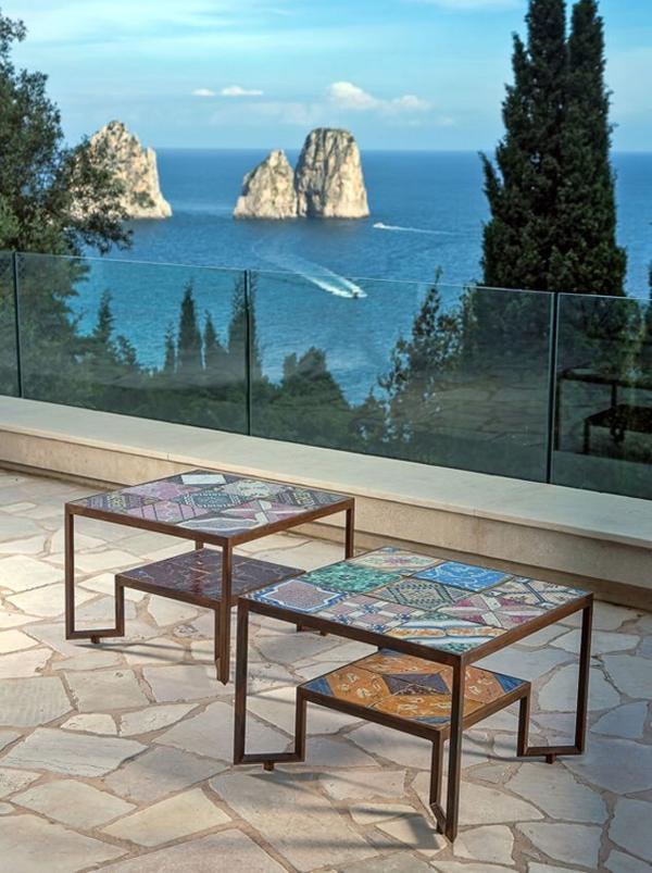 traumhaus insel capri designer Francesco della Femina außenbereich gestalten couchtische mosaik