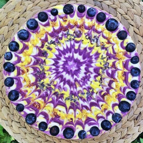 veganer kuchen mandala blaubeeren
