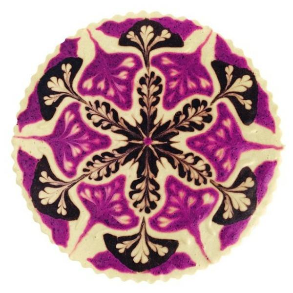 veganer kuchen mandala schneekristall schokolade lila