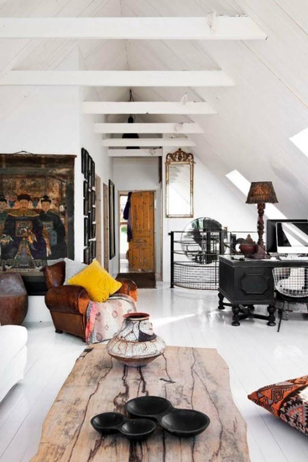 vintage einrichtung rustikaler couchtisch wohnzimmer