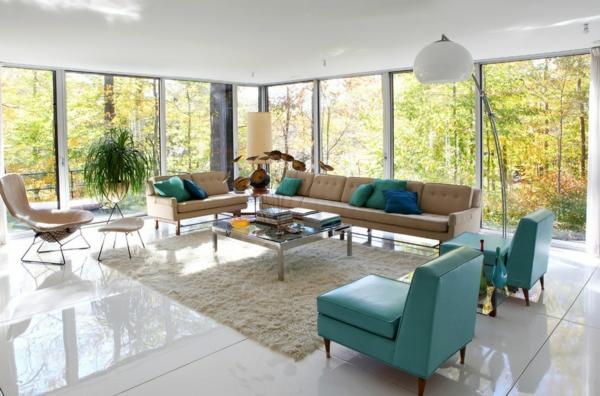 vintage einrichtung wohnzimmer beige grün pflanzen