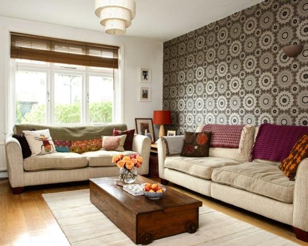vintage möbel wohnzimmer wandtapete leuchter teppich