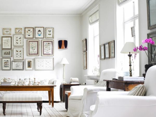 vintage einrichtung wohnzimmer weißes ambiente bilder zimmerpflanze