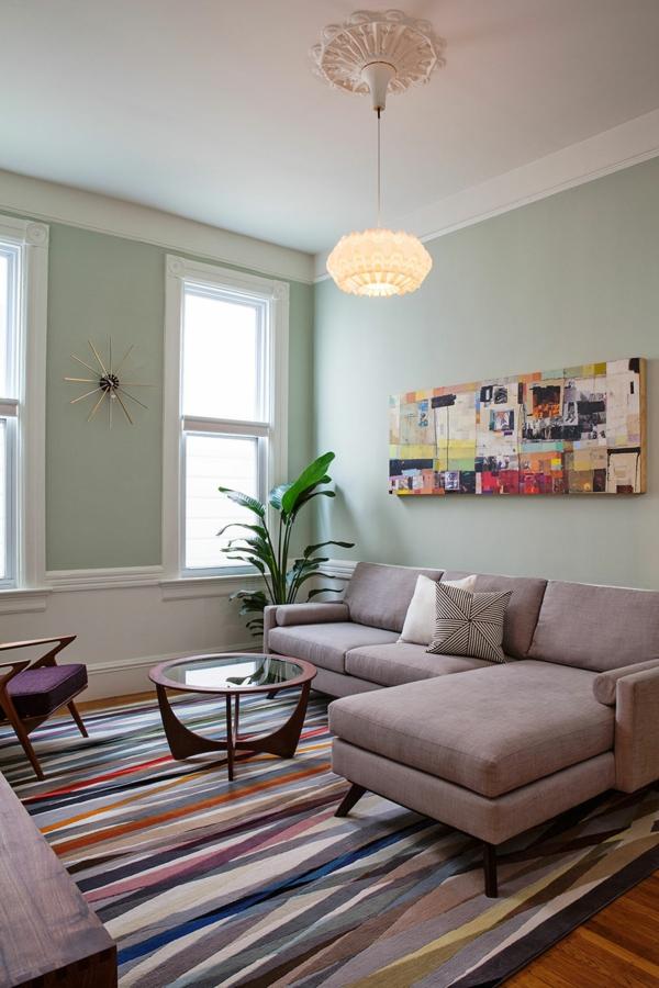 vintage möbel einrichtung wohnzimmer farbiger teppich