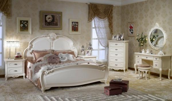 vintage möbel schlafzimmer einrichten wandtapete bilder
