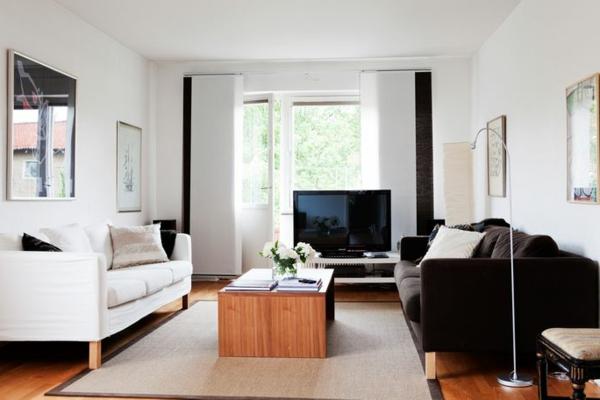 vintage möbel wohnzimmer einrichten weiße wandfarbe holzboden