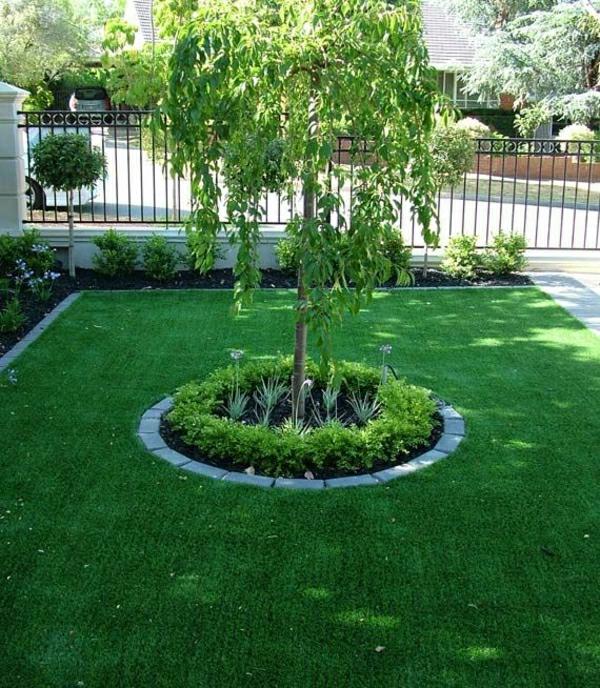 vorgartengestaltung ideen rasenfläche kleinen vorgarten gestalten