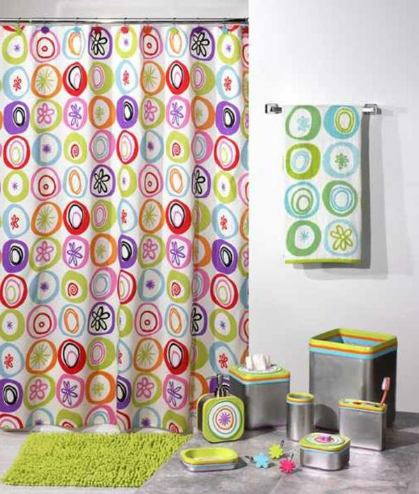 vorhang badezimmer bunt frisch grüne akzente