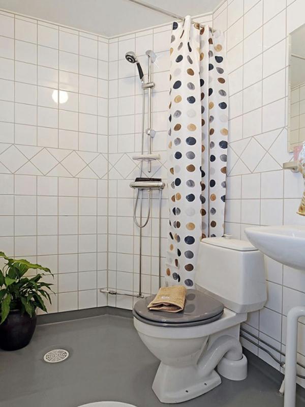 vorhang badezimmer farbige punkte pflanze