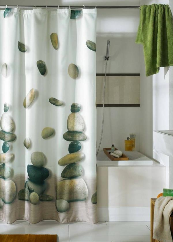 vorhang badezimmer frisches muster steine