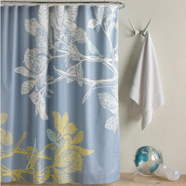 vorhang badezimmer modern florale elemente