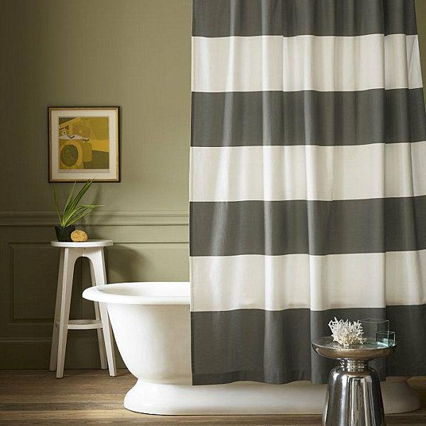 badezimmer vorhang streifen muster weiß schwarz