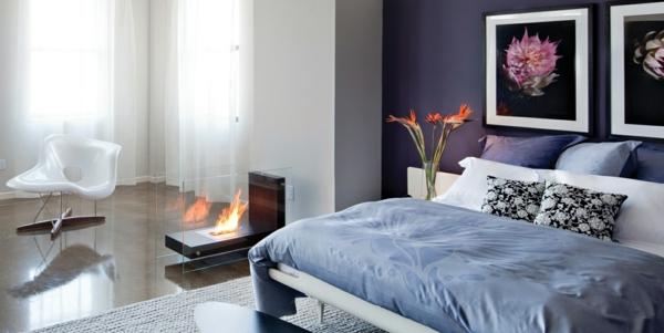 Wand Ideen Schlafzimmer Lila Feuerstelle Pflanzen