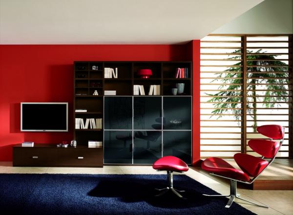 Das wanddesign ideen f r eine sch ne wandgestaltung for Rote wand wohnzimmer