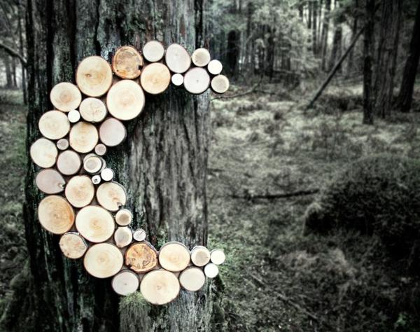 wanddekoration selber machen naturholz halbmond