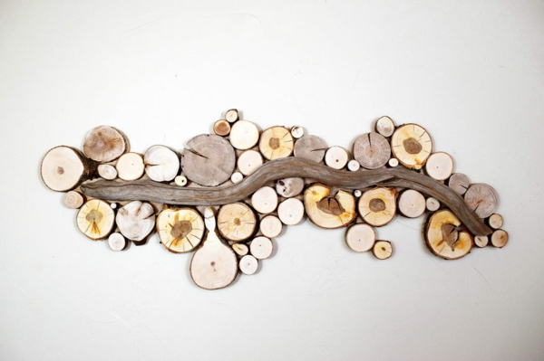wanddekoration selber machen naturholz strömung
