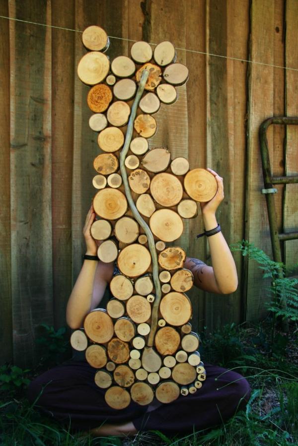 wanddekoration selber machen wachstum naturholz