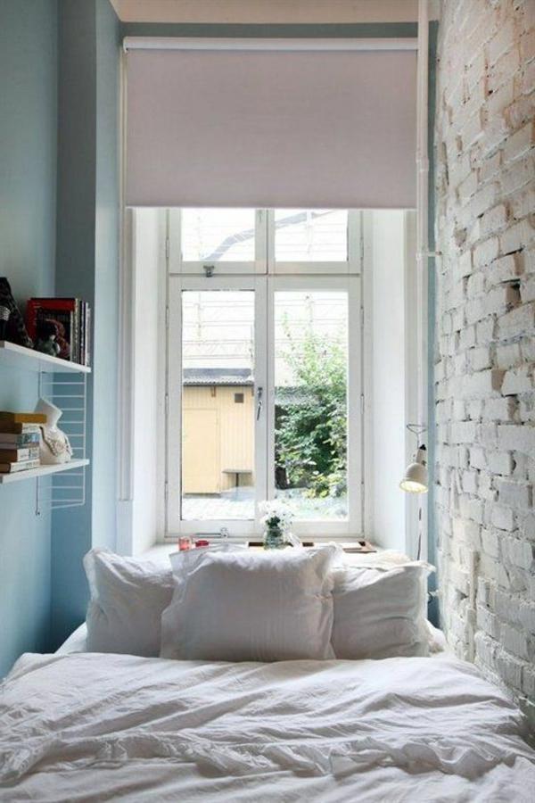 Wanddesign Hellblau Ziegelwand Schlafzimmer Einrichten