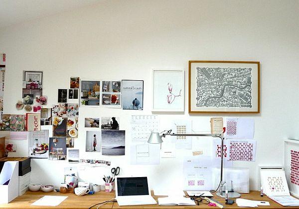 wandgestaltung collage arbeitsplatz dekorieren ideen