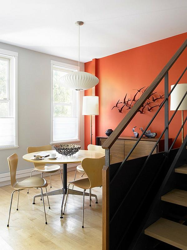 wandgestaltung ideen orange akzentwand wanddeko metall CWB Architects