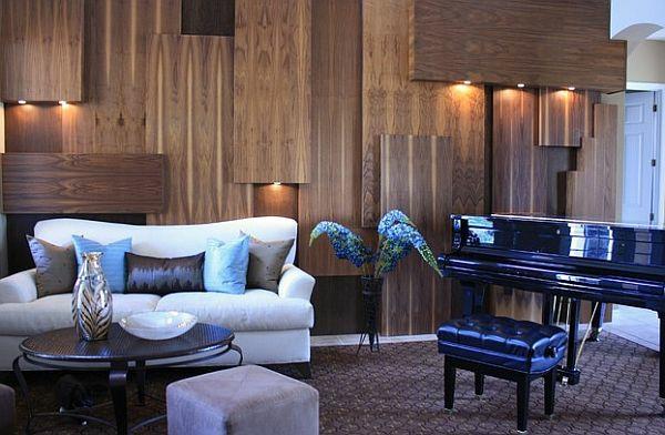 wandgestaltung ideen paneele wohnzimmer klavier Beckwith Interiors