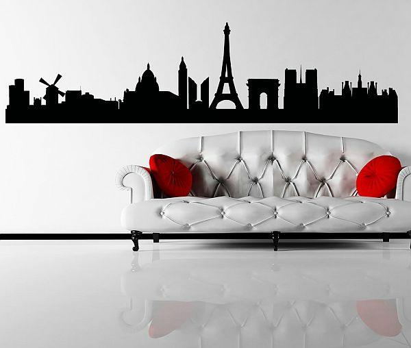 wandgestaltung ideen wohnzimmer wandtatoos stadt