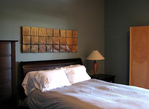 wandgestaltung kleines schlafzimmer elegante wanddeko metall brenda mcmahon ceramics