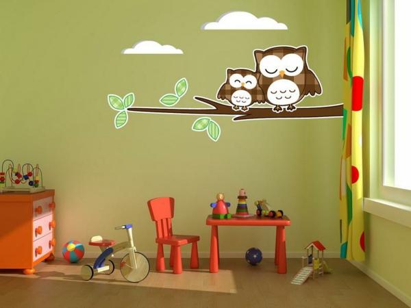 wandtattoos für kinderzimmer eulen wände dekorieren