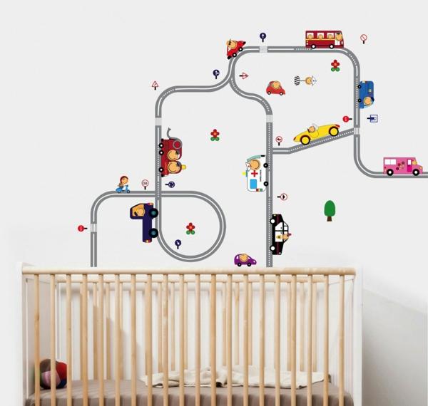 wandtattoos für kinderzimmer gitterbett babyzimmer