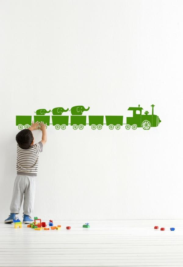 wandtattoos für kinderzimmer grüner wandsticker weiße wandfarbe