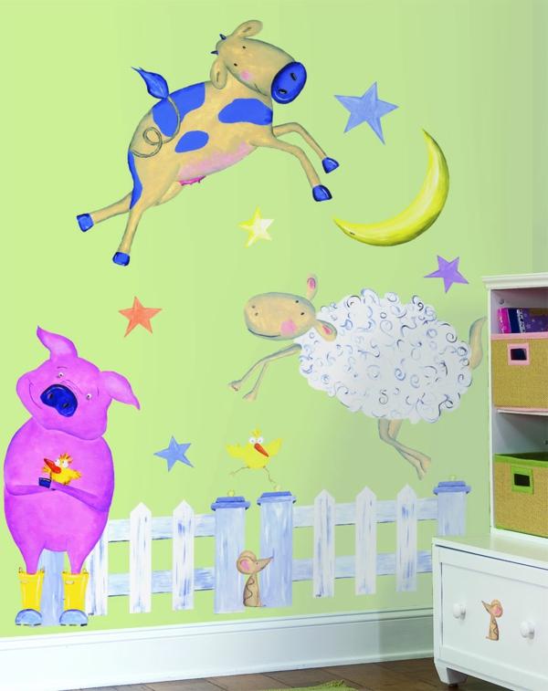 wandtattoos für kinderzimmer lustige wandgestaltung bauernhof tiere