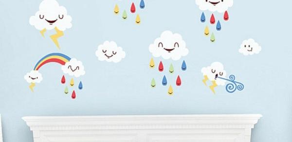wandtattoos kinderzimmer wolken regen hellblaue wandfarbe