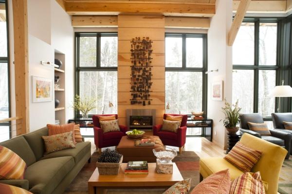 wohnzimmer design landhausstil dekokissen rote sessel