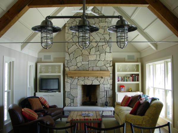 wohnzimmer design landhausstil kamin steinwand